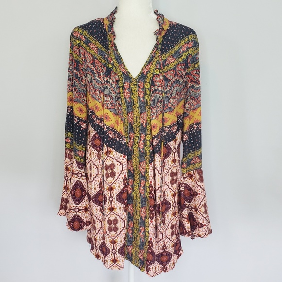 Umgee Tops - Umgee multicolor boho peasant top women's Large